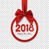 Insegna rotonda del buon anno 2018 con il nastro e l'arco rossi Immagini Stock Libere da Diritti