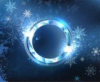 Insegna rotonda del gelo illustrazione di stock