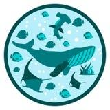 Insegna rotonda piana Logo Deep Style di vita subacquea royalty illustrazione gratis