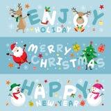 Insegna, Santa Claus ed amici di Natale con iscrizione Fotografia Stock Libera da Diritti