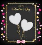 Insegna scura di giorno di S. Valentino con due tagliata illustrazione vettoriale