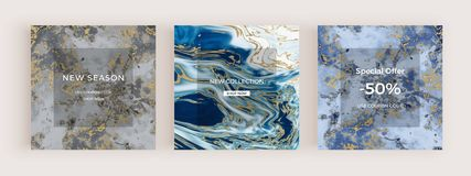 Insegna sociale di media di vendita con struttura di marmo liquida Ambiti di provenienza astratti di scintillio della pittura dor illustrazione di stock