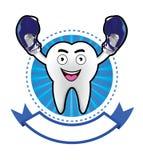 Insegna sorridente del dente del fumetto Fotografia Stock