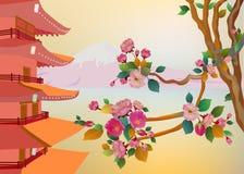 Insegna sui precedenti dei fiori di sakura Fotografia Stock Libera da Diritti