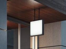 Insegna sul soffitto di legno, del quadrato bianco rappresentazione 3d Fotografie Stock Libere da Diritti