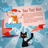 Insegna sveglia di Buon Natale retro sul mestiere illustrazione vettoriale