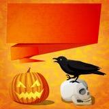 Insegna sveglia di Halloween con il corvo nero sul illustrazione vettoriale