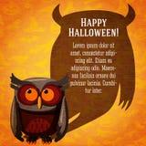Insegna sveglia felice di Halloween sulla carta del mestiere illustrazione vettoriale