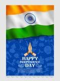 Insegna tricolore con la bandiera indiana per quindicesimo August Happy Independence Day dell'India Fotografie Stock