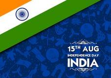 Insegna tricolore con la bandiera indiana per quindicesimo August Happy Independence Day dell'India illustrazione vettoriale