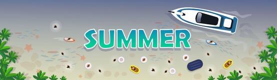 Insegna tropicale di festa della sabbia stabilita di vacanza della spiaggia di estate royalty illustrazione gratis
