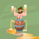 Insegna ubriaca di festival di Patric With Beer Mug Oktoberfest dell'uomo Immagine Stock Libera da Diritti