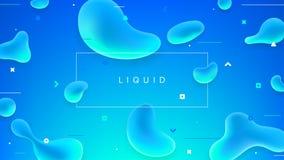 Insegna variopinta astratta con le forme liquide Fotografia Stock