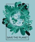 Insegna variopinta con il nostro pianeta nel telaio floreale Fotografie Stock