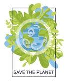 Insegna variopinta con il nostro pianeta nel telaio floreale Fotografie Stock Libere da Diritti
