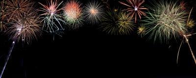 Insegna variopinta dei fuochi d'artificio con stanza per scrivere Fotografia Stock