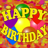 Insegna variopinta di buon compleanno con i baloons, i coriandoli e la serpentina Fotografie Stock Libere da Diritti