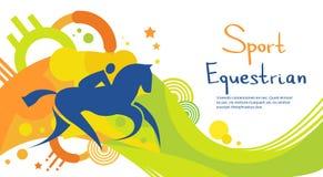 Insegna variopinta di Horse Sport Competition dell'atleta equestre Immagini Stock Libere da Diritti