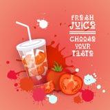 Insegna variopinta fresca di Juice Logo Healthy Vitamin Drink Bar Fotografie Stock