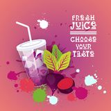 Insegna variopinta fresca di Juice Logo Healthy Vitamin Drink Bar Fotografia Stock Libera da Diritti