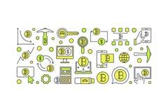 Insegna variopinta minima di Bitcoin - vector l'estrazione mineraria cripto di valuta Immagini Stock