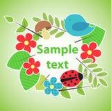 Insegna verde di stile di eco per la vostra progettazione Immagine Stock