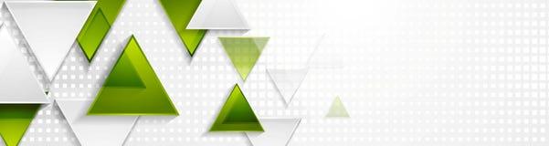 Insegna verde e grigia di web di tecnologia dei triangoli Fotografia Stock Libera da Diritti
