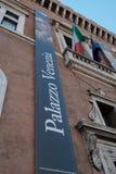 Insegna verticale del museo nazionale del Palazzo Venezia, Roma fotografia stock
