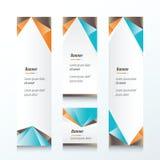 Insegna verticale del triangolo astratto arancio, blu, marrone Fotografia Stock