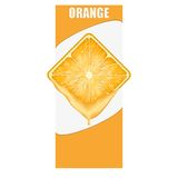 Insegna verticale della fetta quadrata arancio Spazio per Immagini Stock