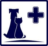 Insegna veterinaria con il cane ed il gatto Fotografie Stock