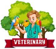 Insegna veterinaria con l'uccello Colourful Fotografie Stock Libere da Diritti