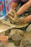 Insegnamento del vasaio dell'argilla Fotografia Stock