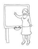 Insegnante alla lavagna in bianco e nero royalty illustrazione gratis