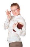 Insegnante allegro con il grande libro Fotografia Stock