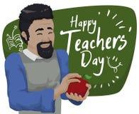 Insegnante castana felice Receiving il suo regalo in insegnante Day Celebration, illustrazione di vettore Fotografia Stock