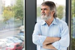 Insegnante che sta accanto ad una finestra Fotografia Stock Libera da Diritti