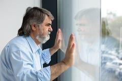 Insegnante che sta accanto ad una finestra Fotografia Stock