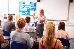 Insegnante With College Students che dà lezione in aula Immagine Stock Libera da Diritti