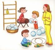 Insegnante con i bambini in ginnastica illustrazione di stock
