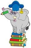 Insegnante dell'elefante di scrittura sul libro illustrazione di stock