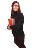 Insegnante della ragazza con il libro di lettura della studentessa di vetro isolato sopra Immagini Stock