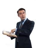 Insegnante di professsor dell'uomo che insegna leggendo un libro Fotografie Stock Libere da Diritti
