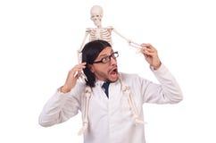 Insegnante divertente con lo scheletro isolato Immagini Stock Libere da Diritti