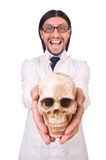 Insegnante divertente con lo scheletro isolato Fotografia Stock