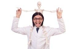 Insegnante divertente con lo scheletro isolato Fotografie Stock Libere da Diritti