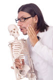 Insegnante divertente con lo scheletro isolato Fotografia Stock Libera da Diritti