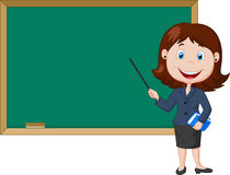Insegnante femminile del fumetto che sta accanto ad una lavagna Fotografia Stock Libera da Diritti