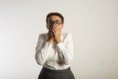 Insegnante femminile frustrato in vestiti conservatori Fotografie Stock Libere da Diritti