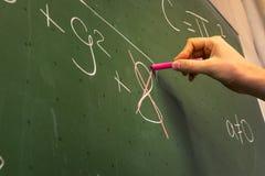 Insegnante femminile Writing della mano sul professor verde Univer della lavagna Fotografie Stock
